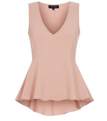 Shell Pink V Neck Peplum Sleeveless Top