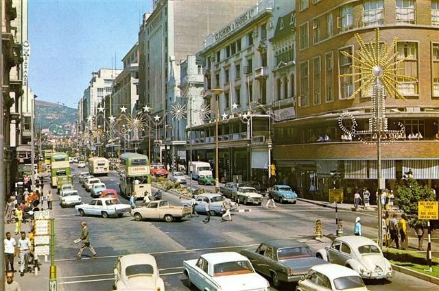 Old Cape Town, Adderley Street.  LOVE all the old cars!