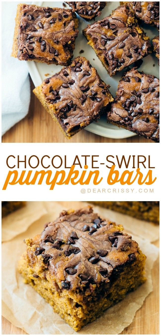 Chocolate Swirl Pumpkin Bars - This pumpkin dessert recipe is easy to make and SO delicious. The pumpkin flavor swirled with chocolate is INSANELY GOOD. Pin it now and thank me later!