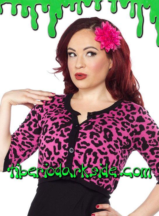 PINK LEOPARD CROP CARDIGAN  Cardigan corto de leopardo rosa con mangas por el codo. Material: 100% hilo de viscosa. Marca Sourpuss.  COLOR: ROSA TALLAS: S, M, L, XL  S - 82 cm pecho (ES talla 36, MEX talla 26, UK talla 8) M - 88 cm pecho (ES talla 38, MEX talla 28, UK talla 10) L - 94 cm pecho (ES talla 40, MEX talla 30, UK talla 12) XL - 100 cm pecho (ES talla 42, MEX talla 32, UK talla 14)