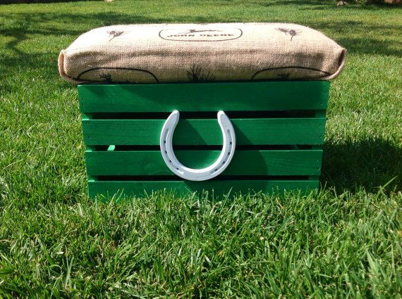John Deere Ottoman Crate with Horseshoes. Western Home Decor. By HorseShoeFever. Country, Rustic, Modern, Farm, Ranch, Cowgirl, Cowboy, Horses, Rodeo, Wall Art, Birthday, Graduation, Christmas, Gift Idea, Present Ideas, Him, Her, Rustic, Traditional