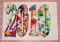 We love simple collages for kids! Give yours a NYE theme with bubble numbers.