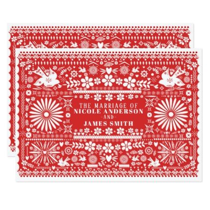 Mexican Picado Red & White Paper Wedding Marriage Card - wedding invitations cards custom invitation card design marriage party