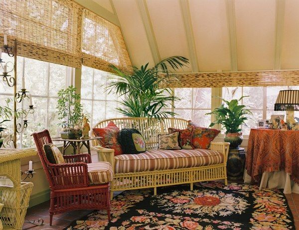 indoor sunroom furniture ideas wicker sunroom furniture striped upholstery colorful area rug