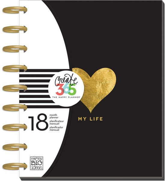 """18 month planner - My Life Create 365™ - The Happy Planner™ is an expandable, disc-bound planner system that combines your love for creativity with your need for organization. Each 18 month planner features a unique layout with monthly and weekly views. This planner is dated from July 2015 - December 2016 and is filled with creative and inspirational artwork to help make YOU a happy planner! Planner dimensions: Covers - 7.75"""" x 9.75"""" Pages - 7"""" x 9.25"""""""