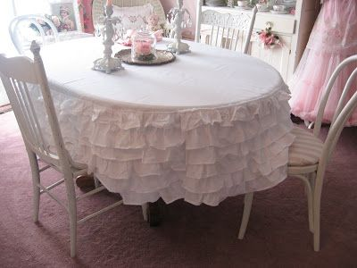 Shabby Cats And Roses: Ruffled Bedskirt Turned Tablecloth