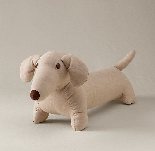 This Chambray Stuffed Dog is 20 inches long.  How special would he be in a little boy's nursery!  Restoration Hardware Baby & Child