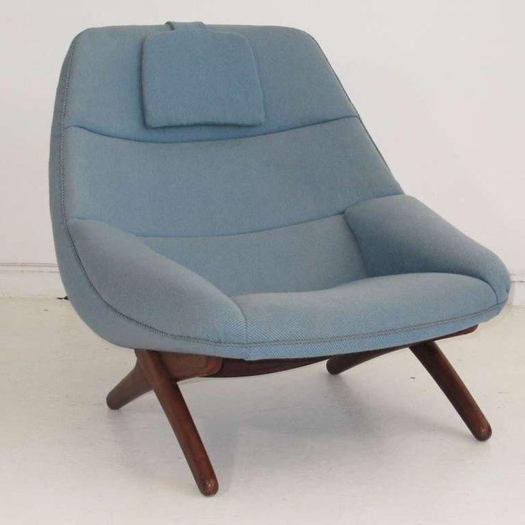 Illum Wikkelsø; Oak Base Lounge Chair, 1960s.
