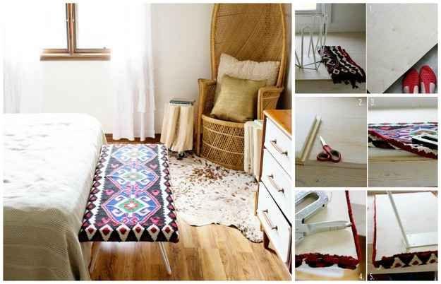 Banquillo de pie de cama tapizado con una alfombra Kilim: | 35 impresionantes maneras de darle nueva vida a los muebles viejos