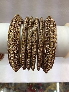 New Bollywood costume jewellery Full LCT gold 6 Psc party bangles set bronze! | eBay