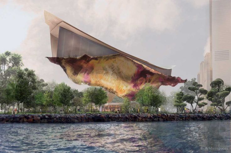 """By Arkhenspaces - This mobile pavilion floating over nature seems to levitate on a veil, it evoques the famous silk """"Carré Hermès"""" waving in the air."""
