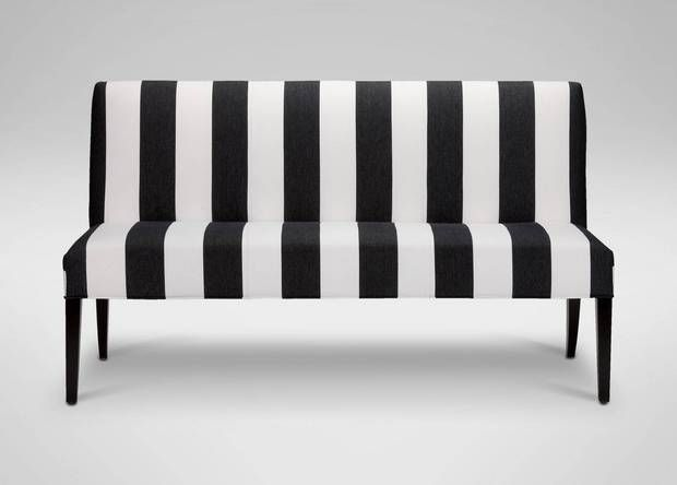 STRIPED BENCH.. AT ENTRY, AT DINING TABLE, AT KITCHEN BANQUETTE
