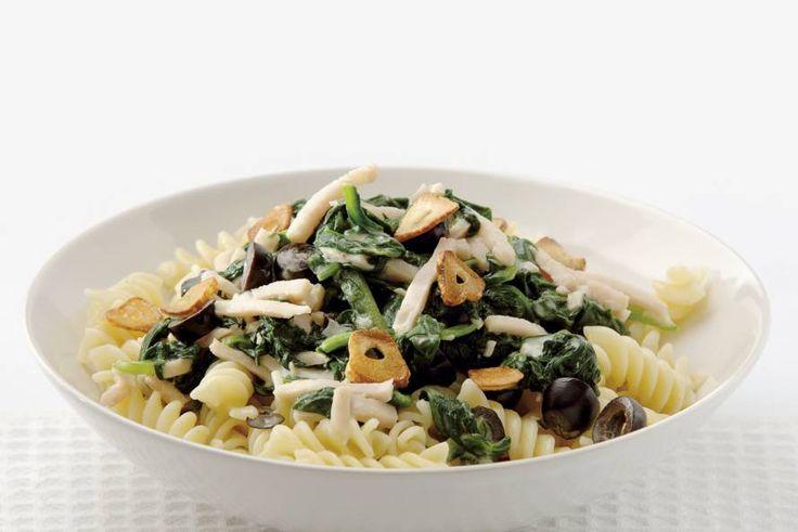 Pasta met gerookte kip en spinazie - Recept - Allerhande