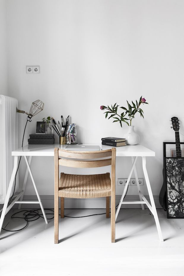 Home office in a Swedish space. Entrance.