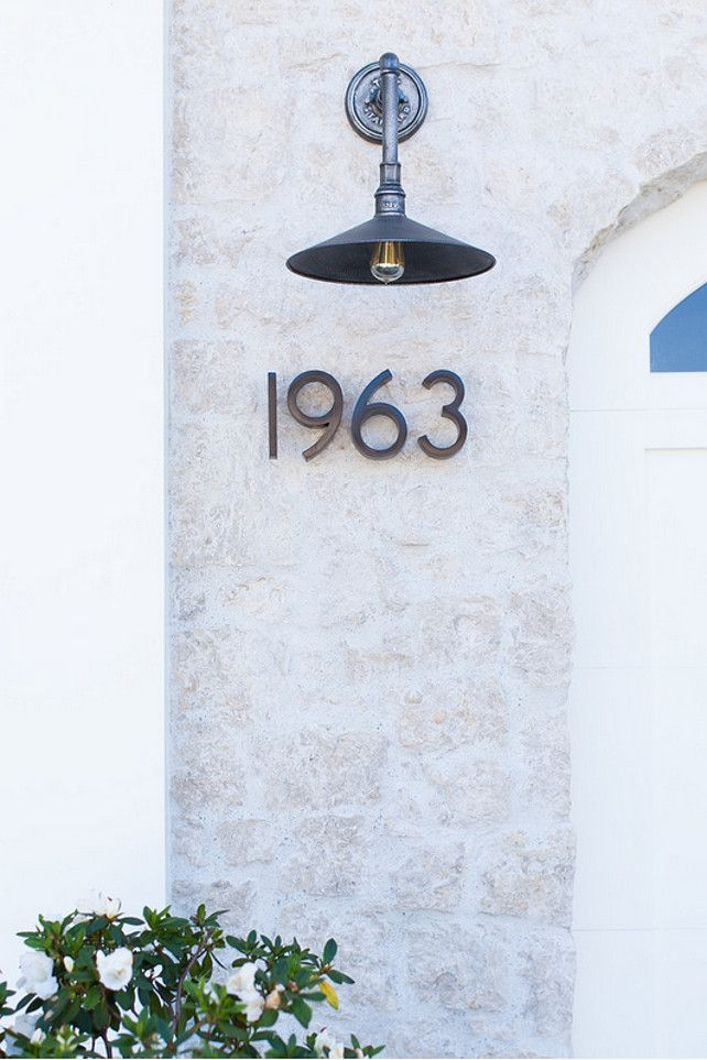Home Exterior Lighting and House Number Ideas. House number place ideas. Where to place house number. #HomeExterior #Lighting #HouseNumber William Guidero Planning and Design.