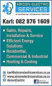 Aircon Electric ServicesAirconditioning, Refrigeration, Electrical and Appliances - Sales, Repairs, Installations and MaintenanceOver 30 years experience in the domestic, commercial and industrial engineering field.All electrical work, lighting, plugs and power supplies install repair.Airconditioning sales, supply, installation, repairs and servicing.Fridges repaired not cooling, short of gas, removing bypass repairs and service.We do quotations and supply, install, service and maintain…