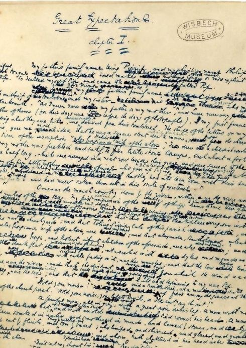 First page of Charles Dickens' handwritten manuscript of Great Expectations