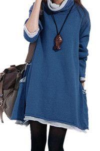 Long Sleeved Mock Neck Sweater Dress Autumn/Fall Maternity Dress Stylish Knitwear Jumper Dress