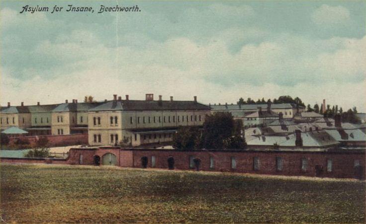 Postcard: The ha-ha wall enclosing the Beechworth Lunatic Asylum. Source: unknown