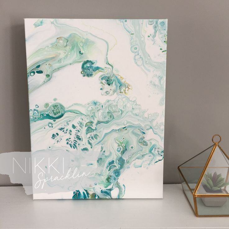 12x16 original acrylic pour painting gallery-wrap canvas, fluid art, dirty pour, acrylic painting, turquoise, white, contemporary - PEACEFUL by NikkiSpracklin on Etsy https://www.etsy.com/ca/listing/599764011/12x16-original-acrylic-pour-painting