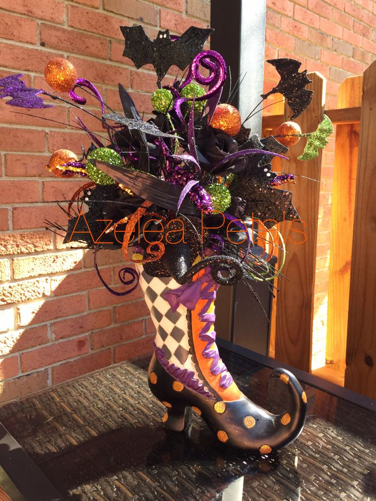 RAZ Witch Boot Arrangement, Halloween Bat Centerpiece, Witch Floral Arrangement, Harlequin MacKenzie Child's Decoration by Azeleapetals on Etsy https://www.etsy.com/listing/203189930/raz-witch-boot-arrangement-halloween-bat