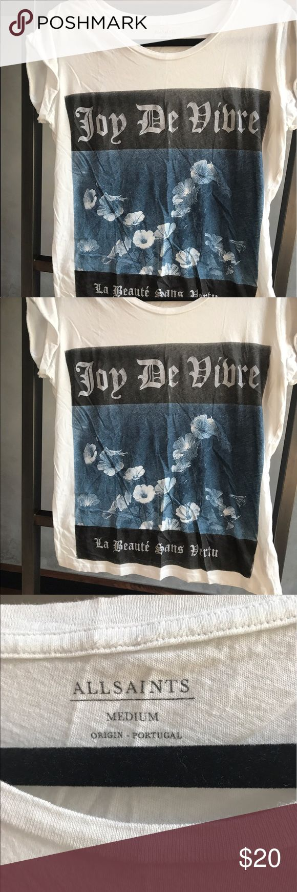 AllSaints Tshirt Joie De Vivre AllSaints tshirt with joie de vivre print on it. Size medium. White with black and blue print. Vintage feel. All Saints Tops Tees - Short Sleeve