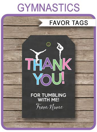 INSTANT DOWNLOADS of Gymnastics Party Favor Tags. Personalize the template at home and attach to your Gymnastics birthday party favors. Download Now!