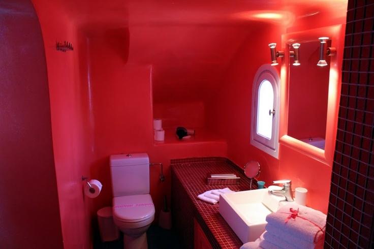 Red bathroom in Santorini