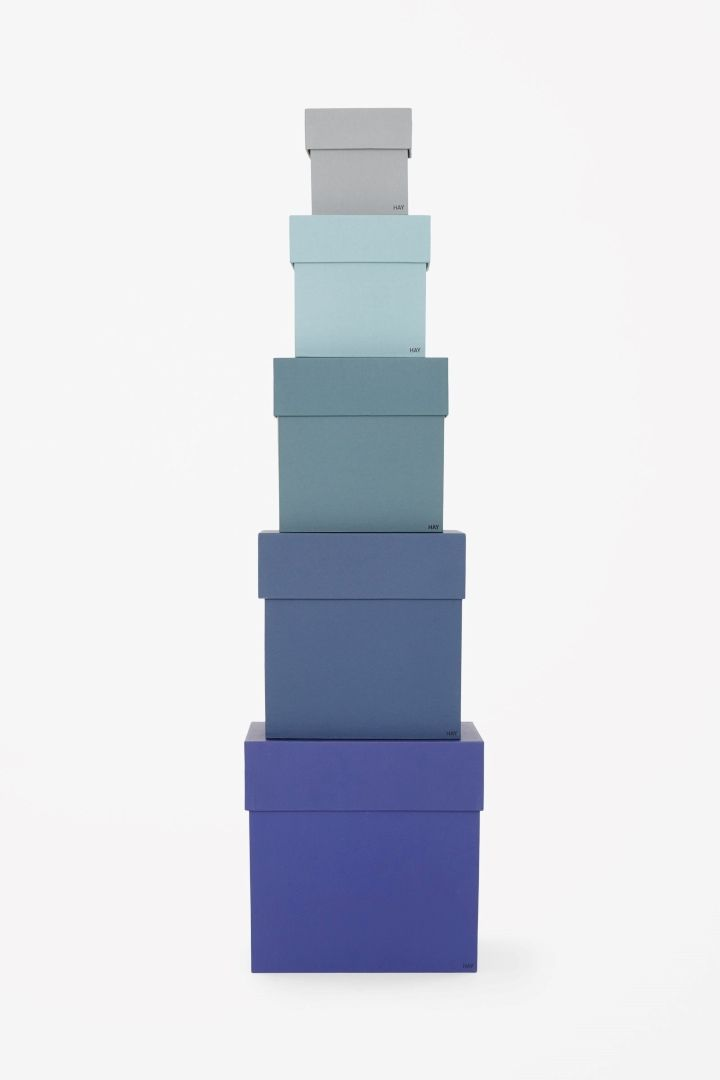 Set of coloured boxes