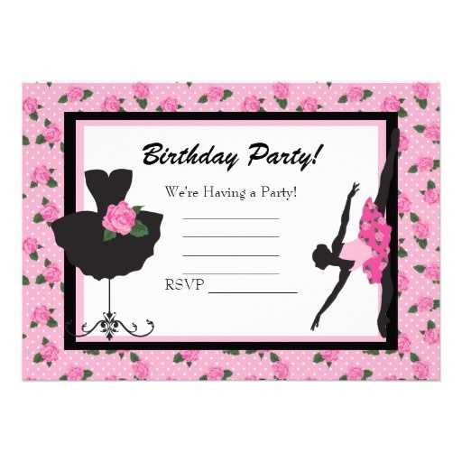 KRW Girls Ballet Rose Blank Birthday Invitation