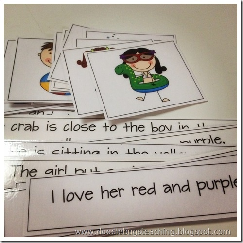 At first describing pictures is really important for ELLs. The next step would be working on reading the sentences, so that they can be confident in matching the pictures and sentences.