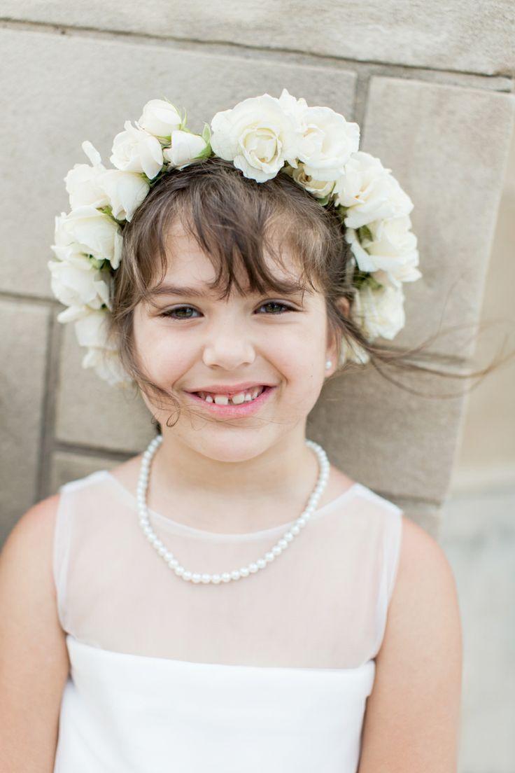 flower girl ivory halo flower crown wedding party kids in wedding flower girl junior. Black Bedroom Furniture Sets. Home Design Ideas