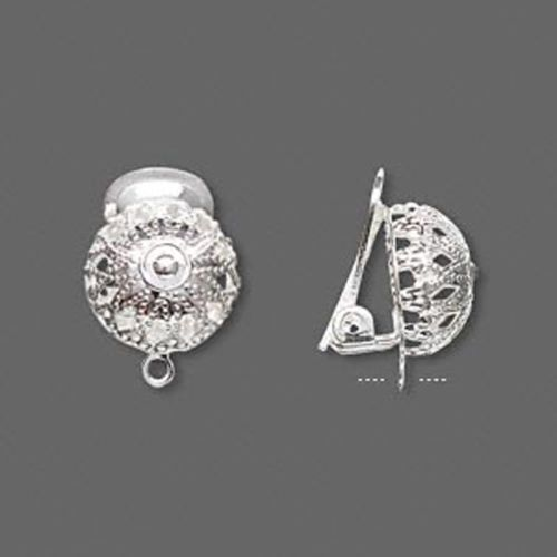 Earring Lead Safe Silver Plated Br Leverback Clip On With Filigree Half Ball Loop One Pair Findings Lacy Looking Component Has