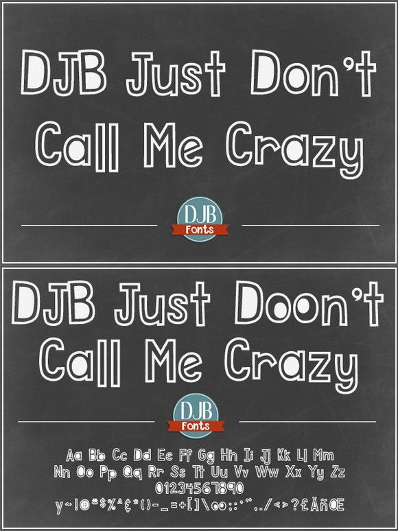 DJB Just Don't Call Me Crazy Font. Fonts. $5.00