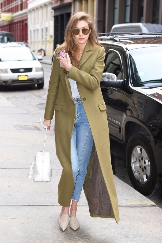 Gigi Hadid wearing Tom Ford Leather Small Tassel Bucket Bag, Nicholas Kirkwood Beya Flat Mules in Stone, Gucci Blooms Iphone Case, Sandro Paris Miren Straight Cut Jeans, Zimmermann Karmic Coat and Sunday Somewhere Parker Sunglasses
