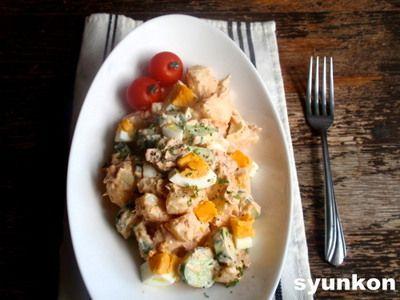 【簡単カフェごはん】じゃがいもとツナとゆで卵ときゅうりのカフェサラダ*