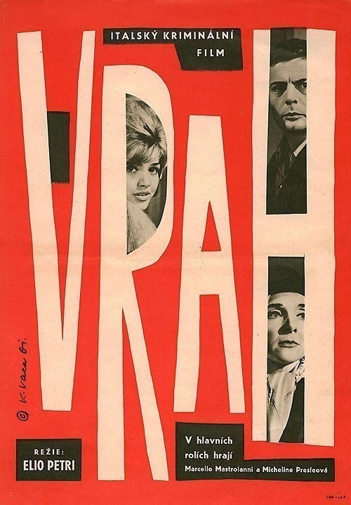 "MP943. ""L'assassino"" Czech Movie Poster by Karel Vaca (Elio Petri 1961) / #Movieposter"