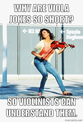 Violinist + music meme = too easy.