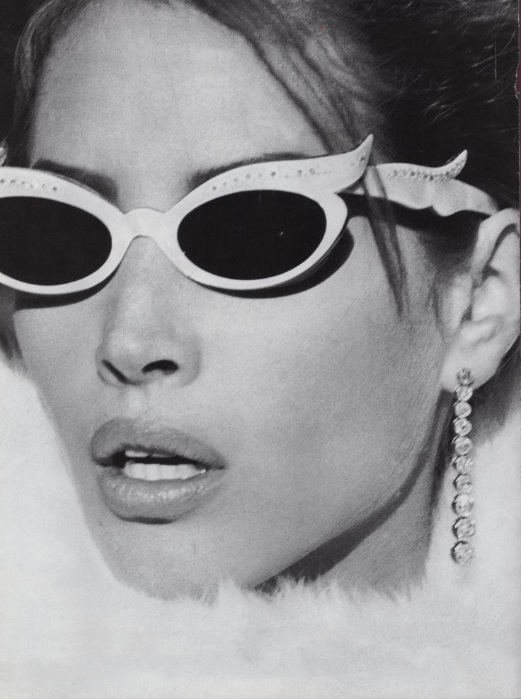 1989. US Vogue. Model Christy Turlington cateye sunglasses. Photo by Steven Meisel (B1954)