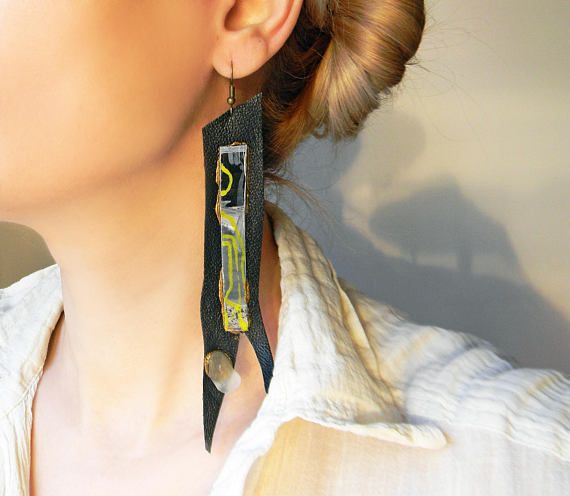 Super long black leather avant garde earrings with hand
