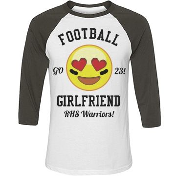 Custom Football GF | Hey football girlfriend! Customize your own emoji football shirt for this years season. Add your boyfriends name and number and get loud! The heart eyed emoji is perfect to cheer on your football player. #football #girlfriend #emojis