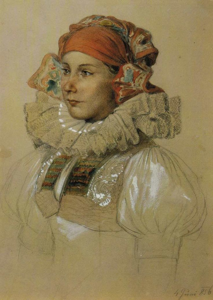 Hanačka (Josef Mánes) girl from Haná region, drawing by the czech famous artist Josef Mánes