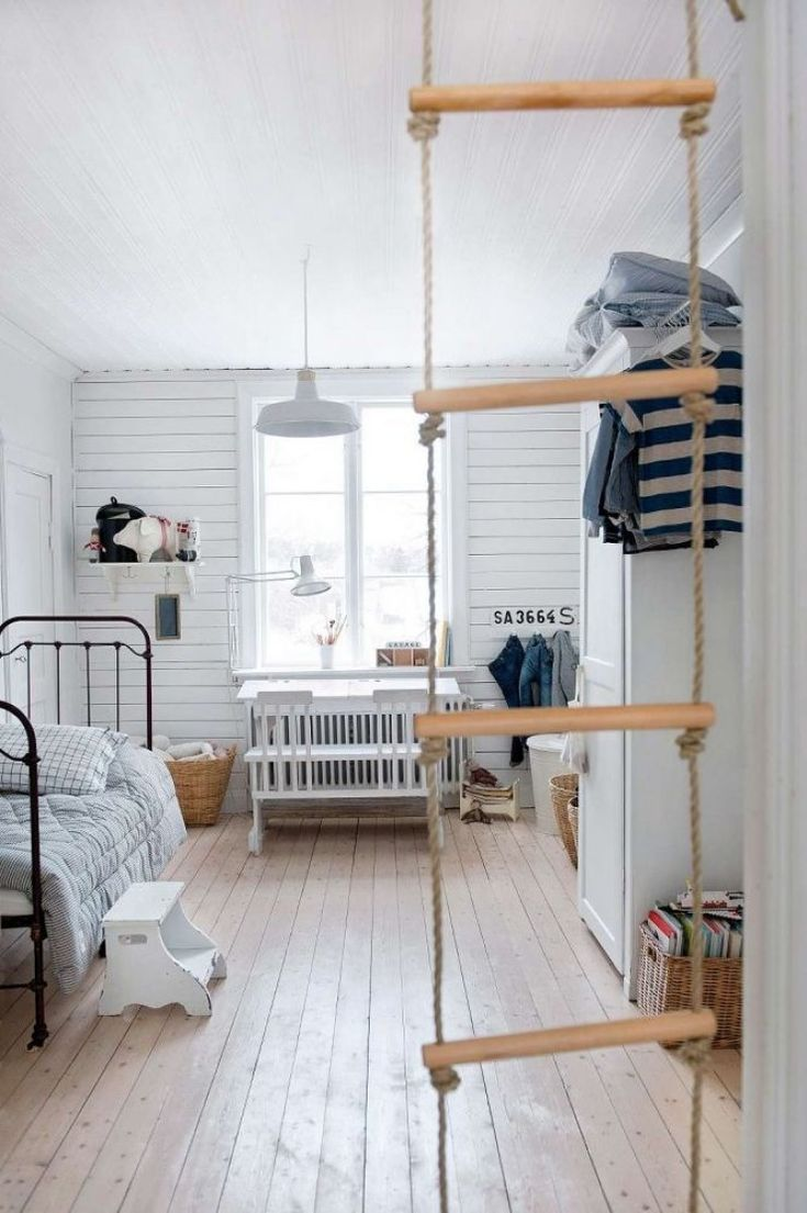 scandinavian boys' room with ladder