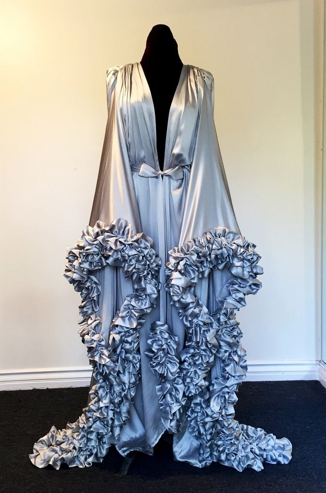 Silver Charmeuse Extravagant Dressing Gown via Catherine D'Lish