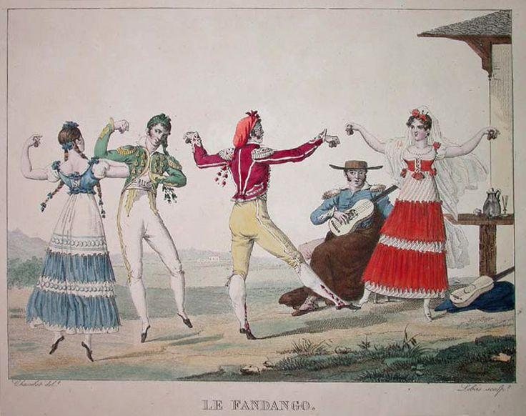 Spanish folk dance, fandango, by french painter Pierre Chasselat, 1810