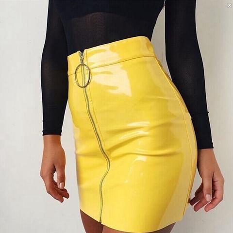 3e2c53675f9 New 2018 Fashion Women s Ladies Casual PU Leather High Waist A-Line Bodycon  Zippers Mini Short Skirt