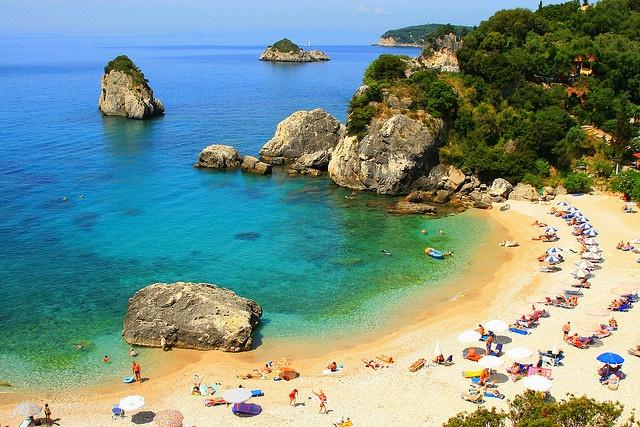 Sandy cove, Parga. Overview of sandy beach. Krioneri Beach, Parga, Epirus, Ionian Sea, Greece (By Marite2007)