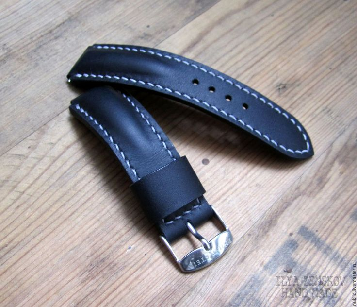 Купить Кожаный ремешок для часов - черный, кожа, кожа натуральная, ремешок, ремешок для часов