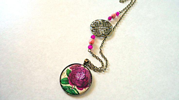 Collier rétro cabochon  & estampe ~ Rose pourpre ~ Collection vintage