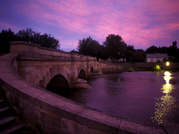 Ross Bridge, Tasmania: Eggplants, Colors Purple, National Geographic Photos, Purple Sunsets, Romantic Places, Purple Passion, Tasmanian Bridges, Rivers, Purple Sky